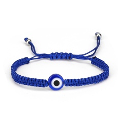 Black and Blue Evil Eye Braide Adjustable Bracelets Blue-Eye
