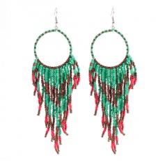 Bohemian Ethnic Style Handmade Woven Ear Hook Earrings Blue