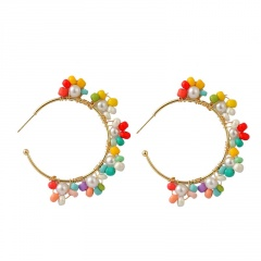 Colorful Bohemian Ethnic Style Hand-woven Earrings C Shape