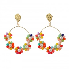 Colorful Bohemian Ethnic Style Hand-woven Earrings Circle