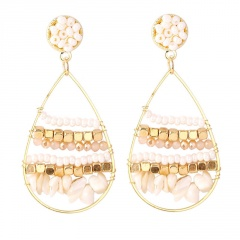Drop-Shaped Rice Beads Natural Stone Bohemian Ethnic Style Earrings White