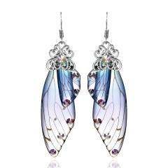 Long Cicada Wings Butterfly Simulation Ear Hook Earrings Blue