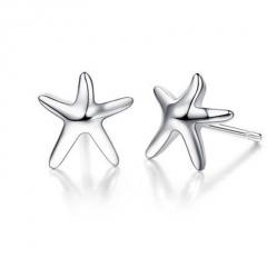 Silver Starfish S925 Simple Women's Stud Earring Star