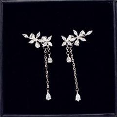 Copper + CZ Stone Leaf Tassel Long Stud Earrings Silver