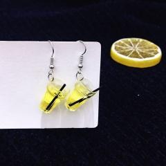 Lemon Three-Dimensional Drink Earrings Yellow