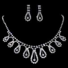 1DZ (12 Set) Fashion Silver Jewelry Set Rhinestone Necklace Earring Set Wholesale 1402-6810