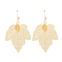 Metal Maple Leaf Hollow Carved Long Earrings Maple leaf