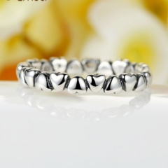 Silver Full Heart Simple Rings Wholesale Heart