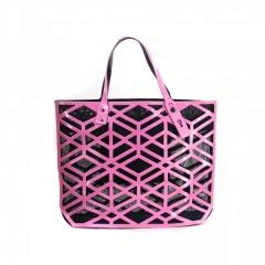 Geometric Diamond Lattice Hollow Jelly Color Shoulder Bag Pink