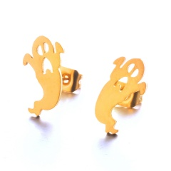 Fashoin Metal Ghost Halloween Stud Earrings Jewelry Gold