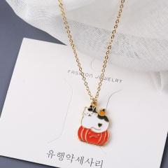 Pumpkin Cat Pendant Clavicle Chain Halloween Necklace A