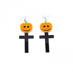 Pumpkin Cross Earrings Halloween Jewelry Earring