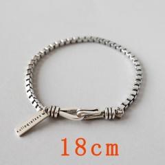 Box Chain Vintage Antique Silver Bracelet 18cm