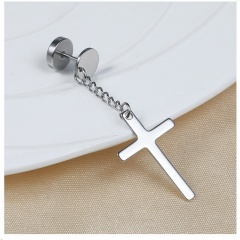1pc Cross Stainless Steel Dumbbell Chain Stud Earrings Silver