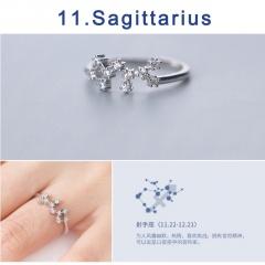 12 Constellation Silver Opening Adjustable Diamond Rings Sagittarius