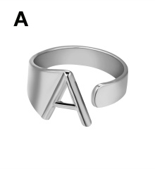 Silver Metal 26 Alphabet Opening Adjustable Statement Rings A