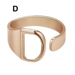 Rose Gold Meatal 26 Alphabet Opening Adjustable Rings D