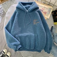 Plus Velvet Lamb Sweater Women Autumn Winter Warm Jacket Blue M