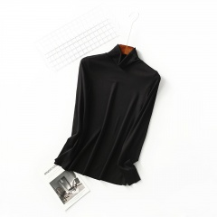 High-necked long-sleeved warm and seamless thin T-shirt Black M