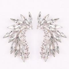 Fashion Geometric Semicircular Arc Wings Micro-set Crystal Stud Earrings White