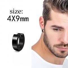 1PC Black Stainless Steel Men's Simple Earrings 1PC #5