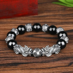 Imitation Natural Obsidian Thai Silver Six-Character Mantra Prayer Beads Lucky Pixiu Bracelets BR20Y0115-3