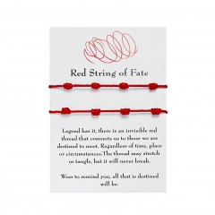 7 Knot Red Rope Lucky Friendship Woven Adjustable Paper Card Bracelet 2 pcs(With Card)