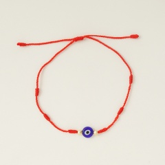 Blue Eyes 6 Knots Red Rope Lucky Friendship Braided Adjustable Bracelet Red-1pc(No Card)