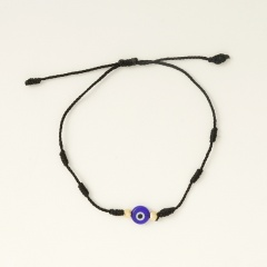 Blue Eyes 6 Knots Red Rope Lucky Friendship Braided Adjustable Bracelet Black-1pc(No Card)
