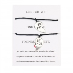 2pcs/Set Best Friends Red Rope Love Stitching Weaving Adjustable Friendship Card Bracelet Set Black