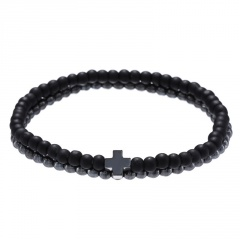 2pcs/Set Sandstone Lava Stone Combination Beaded Men's Bracelet Set A