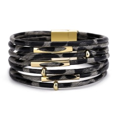 Leopard Multi-layer Leather Ladies Magnetic Bracelet Wholesale Black