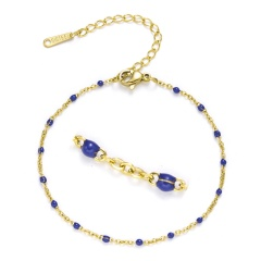 Golden Chain with Colorful Beads Adjustable Simple Bracelets Navy Blue