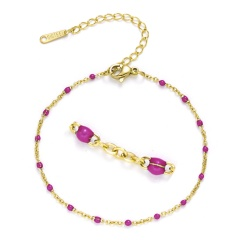 Golden Chain with Colorful Beads Adjustable Simple Bracelets Hot Pink