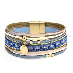 Fashion Golden Circle Dangle Multilayer Leather Bracelets Blue