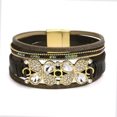 Fashion Multilayer Leather with Alloy Butterfly Bracelets Jewelry Brown