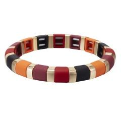 Multicolor Alloy Beads Elastic Bracelet Wholesale Red