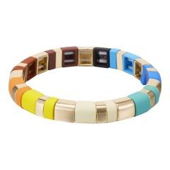 Multicolor Alloy Beads Elastic Bracelet Wholesale Multicolor