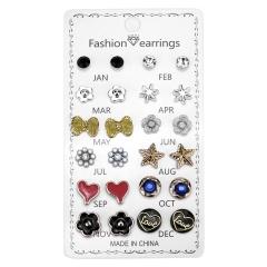 12 Pairs/Set Crystal Rhinestone Flower Heart Stud Earrings Wholesale ER18Y1412-9