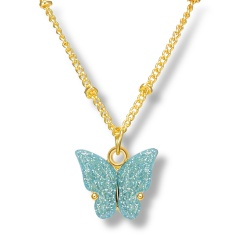 Fashin Butterfly Pendant Alloy Gold Chian Charm Necklace Wholesale Blue