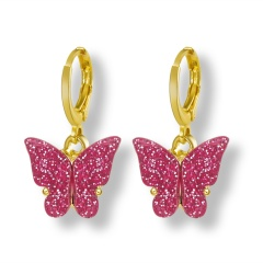 Butterfly Gold Hook Small Earrings Jewelry Wholesale Pink