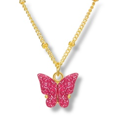 Fashin Butterfly Pendant Alloy Gold Chian Charm Necklace Wholesale Pink