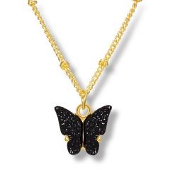 Fashin Butterfly Pendant Alloy Gold Chian Charm Necklace Wholesale Black