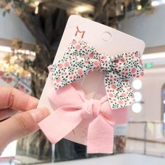 2pcs/set Floral Bow Hairpin Children's Duckbill Clip Set Bangs Pink