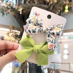 2pcs/set Floral Bow Hairpin Children's Duckbill Clip Set Bangs Green