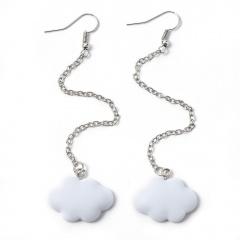 White Cloud Tassel Alloy Chain Earrings Jewelry Wholesale White