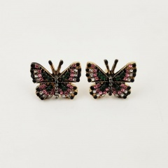 Black Butterfly Alloy with Rhinestone Stud Earring Jewelry Wholesale Butterfly