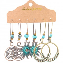 Wholesale MEGGLIO 3 Pairs/Set Colorful Long Tassel Alloy Dangle Earring Set Jewelry Wholesale C