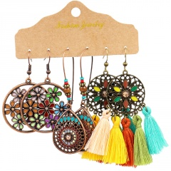 Wholeslae MEGGLIO 3 Pairs/Set Colorful Tassel Alloy Ethnic Earring Set Jewelry Wholesale Tassel