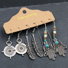 3 Pairs/Set Vintage Silver Rose Gold Alloy Dangle Earring Set Wholesale Silver-Palm